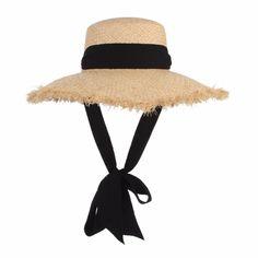 e24a3760af9 Handmade Weave Raffia Sun Hats For Women Black Ribbon Lace Up Large Brim Straw  Hat Outdoor Beach Summer Caps Chapeu Feminino