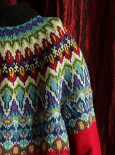 Future life goal: knit myself a Norwegian rainbow yoke sweater like this. I'm 100% serious.