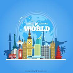 Travel around world with monuments in flat design Premium Vector
