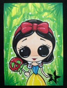 Sugar Fueled Snow White and the Seven Dwarfs Candy Apple lowbrow pop surrealism creepy cute big eye ACEO mini print on Etsy, $4.00