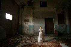 #abandoned #alone #blond #building #creepy #dark #decay #eerie #fashion #girl #indoors #person #wear #window #woman