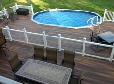 new stylish above ground pool deck