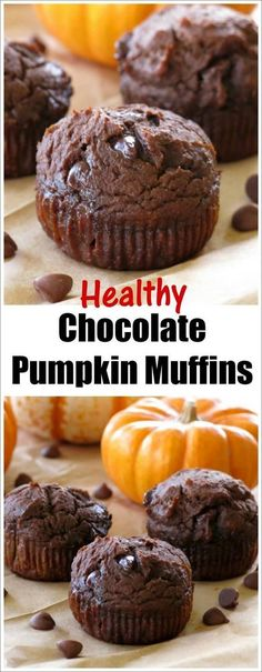 Healthy Chocolate Pumpkin Muffins are made with whole grains, no oil, (yogurt takes it's place) extra protein, lots of pumpkin and are absolutely irresistible! Easy recipe for breakfast or snack.
