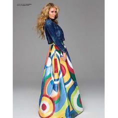 Paris Hilton wearing Christian Louboutin Bianca Platform Pumps and Dsquared2 Cotton Multicolor Polished Skirt
