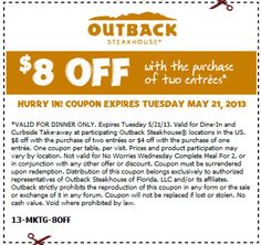 Pinned May 15th: $8 off a couple entrees at Outback Steakhouse coupon via The Coupons App