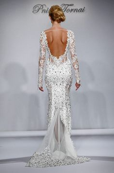 The back of this full beading wedding dress is so sexy and beautiful. Pnina Tornai, 2015