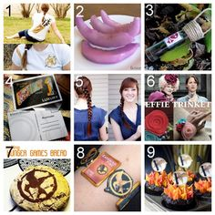 """Nine DIY Hunger Games Crafts. Hunger Games inspired clothing, jewelry, food, hair, keychain, and printable postcards. FYI Folks: those """"display only"""" melons could probably be edible if you soaked the melon slices in beet juice."""