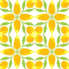 These cross stitch bright yellow rosebuds gain a completely different, almost geometric, appearance when repeated together side by side. Ideal for larger project such as table cloths and cushion covers. Design by CrossStitchtheLine