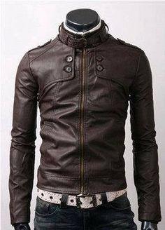 handmade men slim brown leather jacket with by customdesignmaster, $159.99