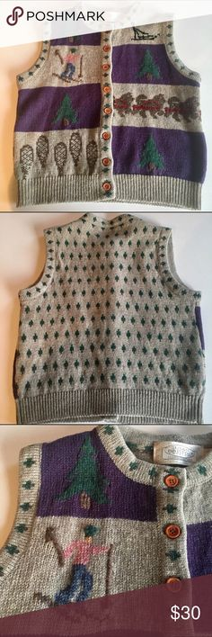 Vintage winter wonderland Vintage Susan Bristol winter wonderland 100% wool vest. This winter wool vest is in perfect condition. Adorable winter sport scenes are the cutest! Wooden front buttons. The entire back is tiny cedar trees! I think it will make a perfect winter vest! Size small can easily fit a medium. susan bristal Jackets & Coats Vests
