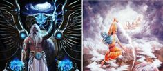 Zeus is the King of Gods in Greek mythology and Indra is the King of Gods in Indian mythology. They both control the skies and weather, use a thunderbolt as a weapon, and are considered womanizers. Greek Pantheon, Indian Gods, Greek Gods, Greek Mythology, Weapon, Weather, King, Culture, Sky
