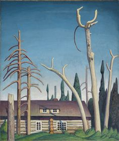 """Log Cabin,"" Lawren S. Harris, ca. oil on canvas, 50 x Montreal Museum of Fine Arts. Canadian Painters, Canadian Artists, Contemporary Landscape, Landscape Art, Landscape Paintings, Emily Carr Paintings, Group Of Seven Paintings, Tom Thomson Paintings, Pintura"