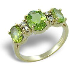 Peridot ring august birthstone and my fave gem.  http://www.foreverjewelers.com/html/peridot-jewelry.htm