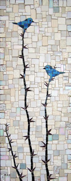 "Michael Sweere Mosaic Company – ""Blue Birds"" Broken plates, ceramic tile and glass"