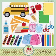 Back to School Supplies digital clip art set by Cherryclipart, $4.50