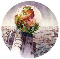 Discovered by Vico Cóceres. Find images and videos about illustration, plants and spaceman on We Heart It - the app to get lost in what you love. Cute Drawings, Drawing Sketches, Arte Pink Floyd, Character Art, Character Design, Earth Drawings, Environmental Art, Cute Art, Art Inspo