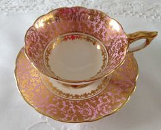 Pink and Gold Royal Stafford China Tea Cup & Saucer by NicerThanNewVintage on Etsy https://www.etsy.com/listing/239429858/pink-and-gold-royal-stafford-china-tea
