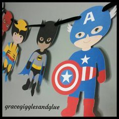 Super Banner guirnalda de superhéroe cumpleaños Banner