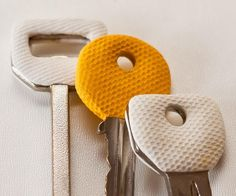 DIY key grips made out of Sugru.