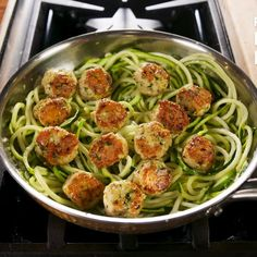 These Zoodle Recipes Make the Most Satisfying Low-Carb Meals Garlic Butter Meatballs with Zoodles Best Zoodle Recipe, Zoodle Recipes, Spiralizer Recipes, Meat Recipes, Healthy Dinner Recipes, Low Carb Recipes, Cooking Recipes, Pasta Recipes, Zucchini Recipes With Sauce