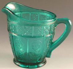 Doric Pansy Creamer Ultramarine Teal Depression Glass Jeannette Vtg Cream | eBay