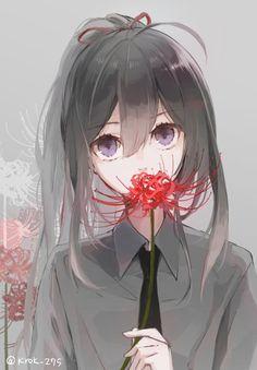 Manga Girl, Anime Art Girl, Anime Style, Kawaii Anime, Red Spider Lily, Dark Art Illustrations, Anime Triste, Image Manga, Anime Artwork