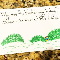 Why was the Easter egg hiding? Because he was a little chicken.  #Easter #easteregg #HappyEaster #kidsjokes #lunchnotes #lunchjokes #lunchbox #parenting by barbaradanza
