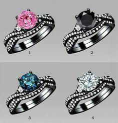 Beautiful black diamond rings. Colorful.