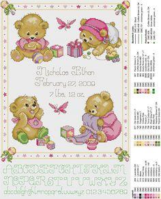 Birth sampler Baby Bears for girl