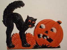 Vintage German Halloween Diecut Cat and Jack-O-Lantern. About 4 inches tall Vintage Halloween Images, Vintage Halloween Decorations, Halloween Displays, Halloween Books, Halloween Items, Halloween Trick Or Treat, Halloween Pictures, Halloween Cat, Halloween Night