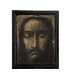 Webb's / Important Paintings & Contemporary Art - / Modern New Zealand Art / Lot TONY FOMISON The Veil of Saint Veronica - After an Old Engraving of a Relic at the Vatican n\Tony Fomison St Veronica, New Zealand Art, Nz Art, Vatican, Contemporary Paintings, Veil, Mona Lisa, Bottles, Coins