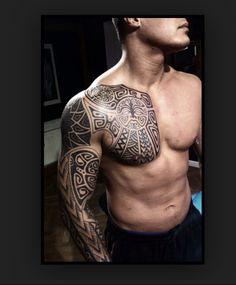 Chest & Arm Sleeve, Polynesian Tattoo