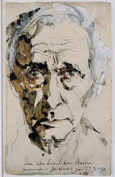 above good and evil dedication/Widmung von Horst Janssen: Abstract Portrait, Watercolor Portraits, Pencil Portrait, Portrait Art, Watercolor Paintings, Art 33, Horst Janssen, Figurative Kunst, Illustrator