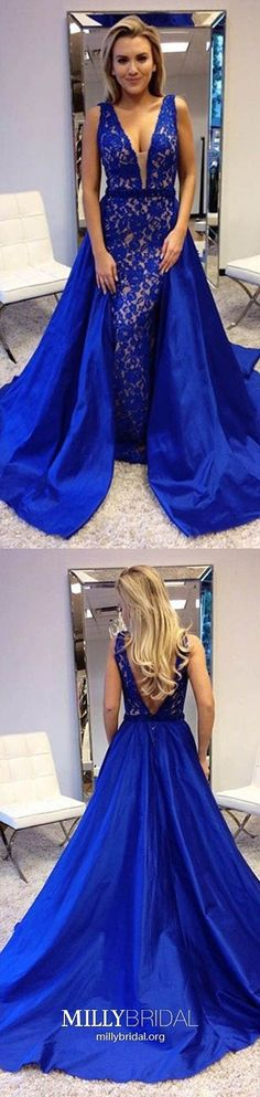 Long Prom Dresses Royal Blue,Princess Prom Dresses V-neck,Modest Prom Dresses Lace,Satin Prom Dresses Open Back