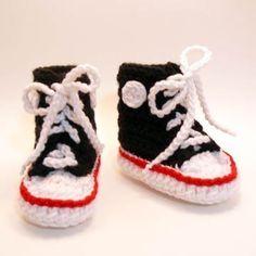 b684028952 Black High Tops Crochet Baby Booties 06 by HeathersTreasureBox