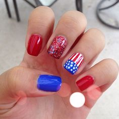 chelseabellex0's festive tips. Show us your 4th of July-inspired nails! Tag your pic #SephoraNailspotting to be featured on our social sites.