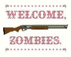 2 Cross Stitch Patterns -- Welcome Zombies pattern set. $6.00, via Etsy.