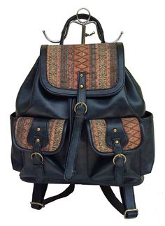 Faux Leather Backpack, deco. love it!!!. Back Zipper pocket.