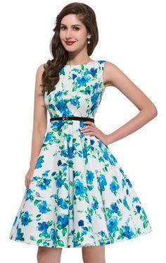 c10f27a20a1 Women Dress Summer Polka Dot Floral Printed With Belt Tunic Femme Retro 50S  Vintage Big Swing Dress