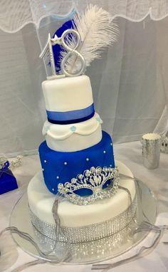 18th Masquerade Cake blue #GlitterCake Blue Birthday Cakes, Ball Birthday, 40th Birthday Parties, Sweet 16 Birthday, 16th Birthday Decorations, Masquerade Party Cake, Sweet 16 Masquerade, Masquerade Ball, Diy Wedding Cake