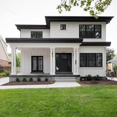 39 most popular dream house exterior design ideas 17 - . - - 39 most popular dream house exterior design ideas 17 Best Picture For co - Flat Roof House, Dream House Exterior, Black Trim Exterior House, House Exterior Design, House Exteriors, Black Windows Exterior, Simple House Exterior, White Siding, Home Styles Exterior