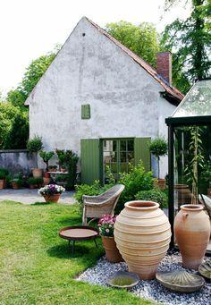 old garden house, garden pots,