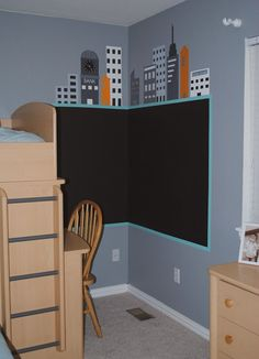 Chalkboard Paint kids room city scape
