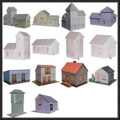 These are 14 house papercraft from projekt-bastelbogen. They are typical German architecture building paper model. They are very good scene materials. Size