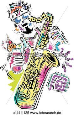 fest, mann, spielend saxophone Große Clipart Grafik anschauen