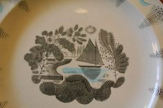 Eric Ravilious Travel boat plate close up for Wedgwood Travel Design, Wedgwood, Plates, Ceramics, Tableware, Licence Plates, Ceramica, Dishes, Pottery