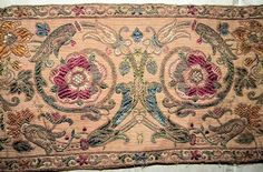 Gorgeous Antique French Fabric Silk Metallic Brocade Tapestry Border Victorian