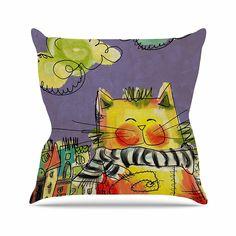 Kess InHouse Carina Povarchik Urban Cat with Scarf Yellow Illustration 12 Diameter
