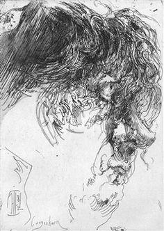 2 works: Selbst für Griffelkunst; Selbstportrait Wuschel By Horst Janssen ,1965 - 1982