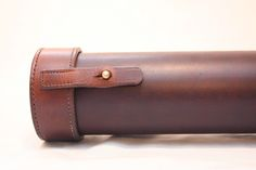 Beautiful, leather, Portland, Oregon-made Fly Fishing Rod Case made by EVG LEATHER. . EVG makes canine (collars), horse (saddles and more), & fly fishing gear. (O / USA)
